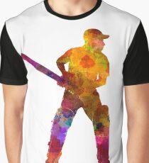 Cricket player batsman silhouette 07 Graphic T-Shirt