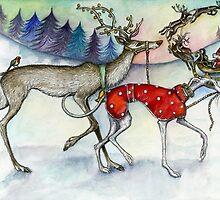 Walking the red nosed reindeer by Elle J Wilson