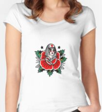 Traditional Rose Pin Up Nurse Tattoo Design Women's Fitted Scoop T-Shirt
