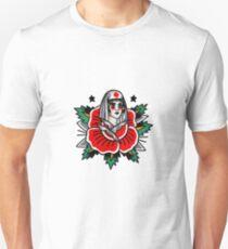 Traditional Rose Pin Up Nurse Tattoo Design Unisex T-Shirt