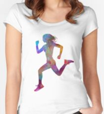 Woman runner running jogger jogging silhouette 01 Fitted Scoop T-Shirt