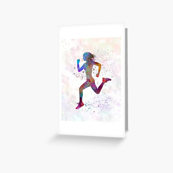 Woman runner running jogger jogging silhouette 01 Greeting Card
