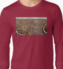 Perspective map of Fort Worth, Texas - 1891 Long Sleeve T-Shirt