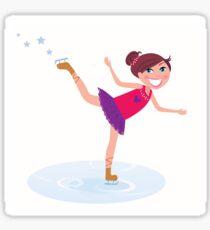 Illustration of figure skating cute girl training on the ice Sticker