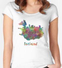 Island im Aquarell Tailliertes Rundhals-Shirt