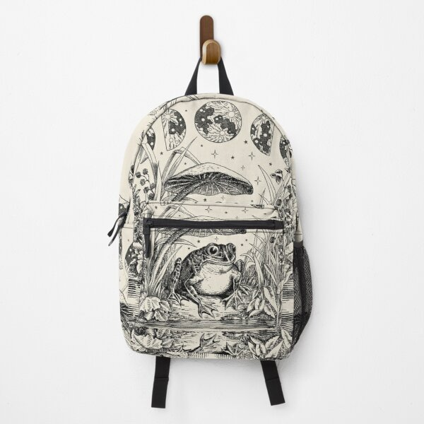 Cute Cottagecore Aesthetic Frog Mushroom Moon Witchy Vintage Backpack