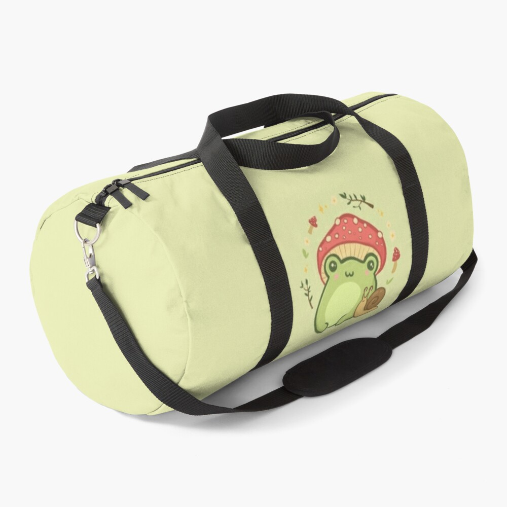 Cottagecore Aesthetic Cute Vintage Frog and Snail Duffle Bag