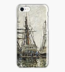 Claude Monet - Boats In A Harbour 1873  iPhone Case/Skin