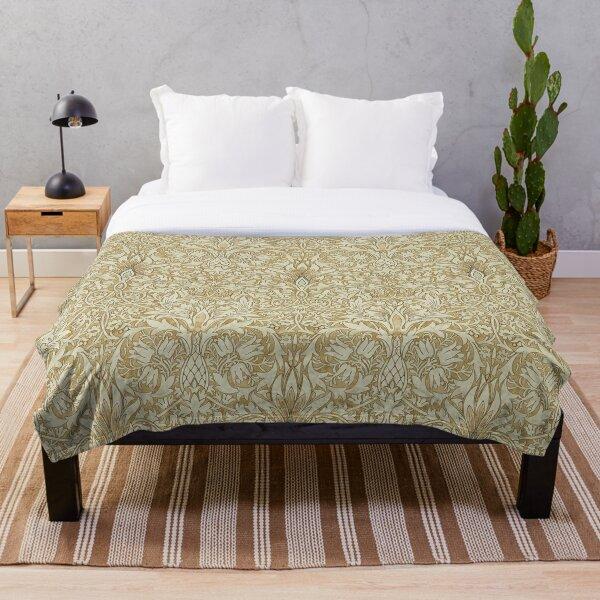 William Morris Snakeshead Gold Linen Pattern Throw Blanket