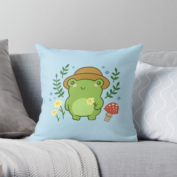 Cute Frog with Hat Mushroom Kawaii Aesthetic Cottagecore Throw Pillow