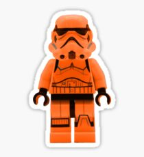 Orange Lego Storm Trooper Sticker