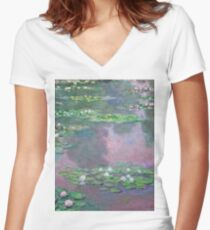 Claude Monet - Water Lilies 9 Women's Fitted V-Neck T-Shirt