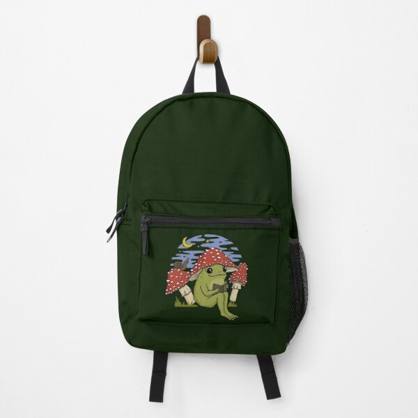 Cute Frog Mushroom Hat Reading Book. Goblincore Toad Bookworm Snail and Toadstool. Happy Cottagecore Froge Under Night Sky  Backpack