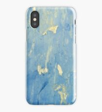 Blue and yellow peeling paint grunge design  iPhone Case/Skin