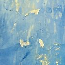 Blue and yellow peeling paint grunge design  by Marianne Campolongo