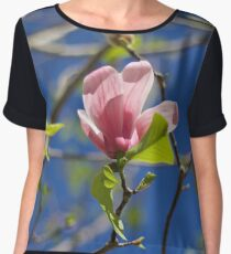 Pink Italian Flower  Chiffon Top