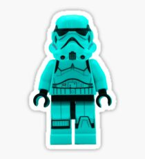 Turquoise Blue Lego Storm Trooper Sticker