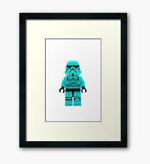 Turquoise Blue Lego Storm Trooper Framed Print