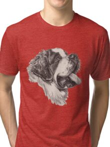Saint Bernard Dog Portrait Tri-blend T-Shirt
