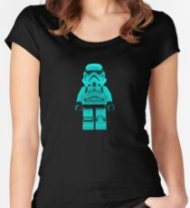 Turquoise Blue Lego Storm Trooper Women's Fitted Scoop T-Shirt