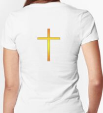 Cross, Christian, Crucifix, Christianity, Jesus, Lord, Gold, Purple Women's Fitted V-Neck T-Shirt