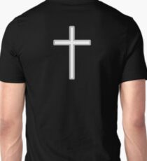 Cross, Christian, Crucifix, Religeon, Belief, Crucifixion, Christianity, Jesus, Lord, White on Black T-Shirt
