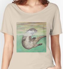 Playful River Otter Women's Relaxed Fit T-Shirt