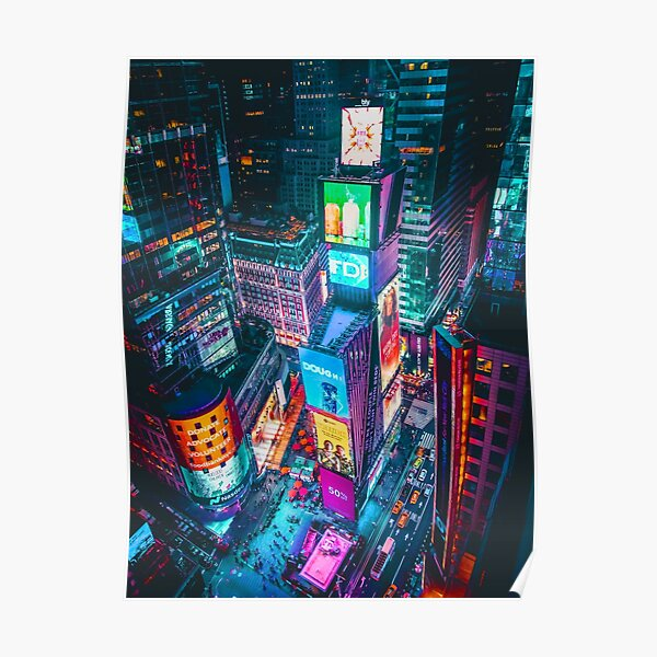 Time Square New York City Colorful Aerial View  Poster