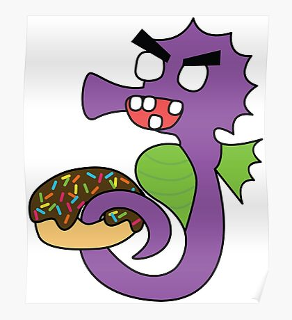 zombie seahorse dangles a donut Poster