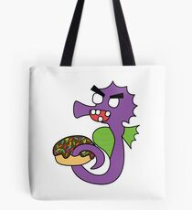 zombie seahorse dangles a donut Tote Bag