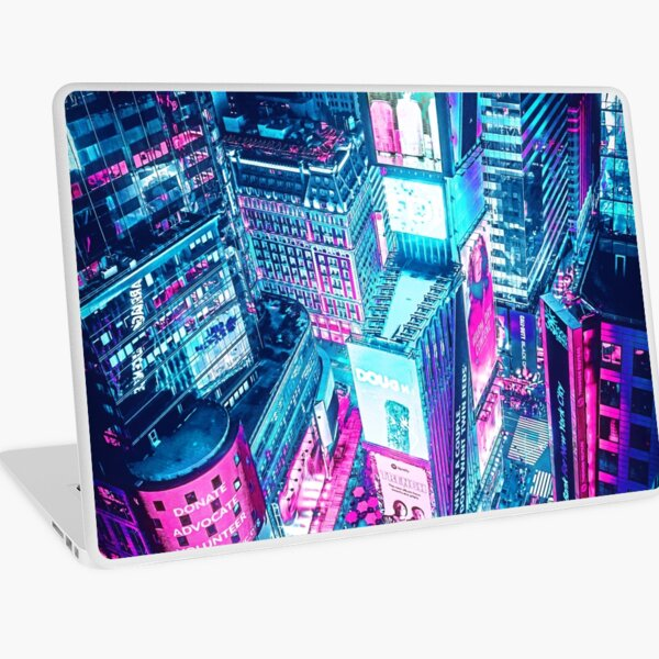 Time Square New York City Aerial View, Cyberpunk Style Laptop Skin