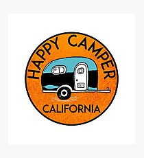 CAMPING HAPPY CAMPER CALIFORNIA TRAILER RV RECREATIONAL VEHICLE Photographic Print