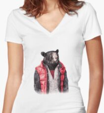 Black Bear Women's Fitted V-Neck T-Shirt