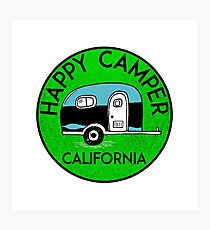 CAMPING HAPPY CAMPER CALIFORNIA TRAILER RV RECREATIONAL VEHICLE 3 Photographic Print