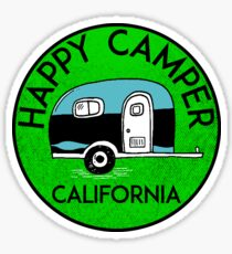 CAMPING HAPPY CAMPER CALIFORNIA TRAILER RV RECREATIONAL VEHICLE 3 Sticker
