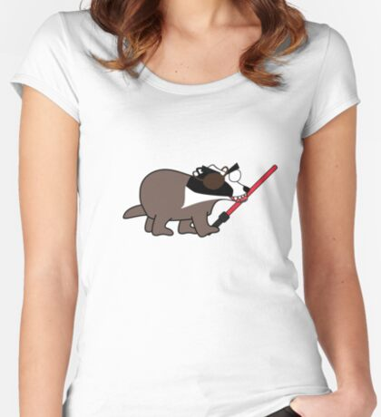 zombie pirate badger wielding a light saber Women's Fitted Scoop T-Shirt
