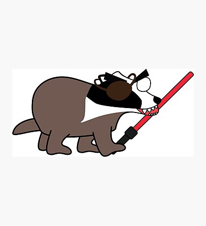 zombie pirate badger wielding a light saber Photographic Print