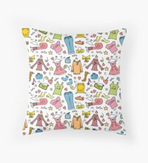 Doodle fashion shopping seamless pattern Throw Pillow