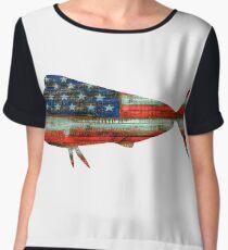 Mahi Mahi USA Merica Dolphin Chiffon Top