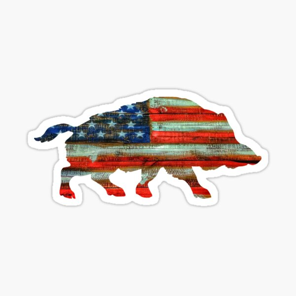 Wild Boar Pig USA Merica Sticker