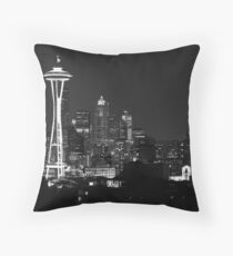 Downtown Seattle at Night (Black and White) Throw Pillow