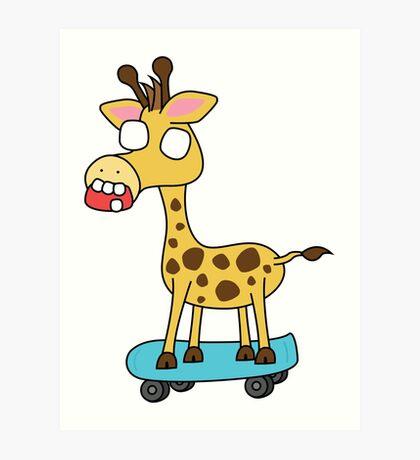zombie giraffe on a skateboard Art Print