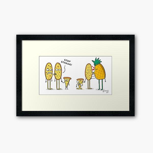 Pineapple Pizza Comic Framed Art Print