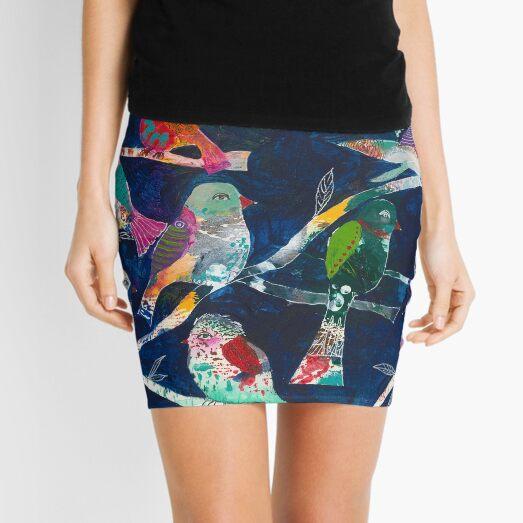 Magical, enchanted birds at night Mini Skirt