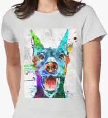 Doberman Pinscher Grunge Womens Fitted T-Shirt