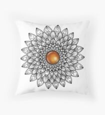 Mandala with Amber Gemstone Throw Pillow
