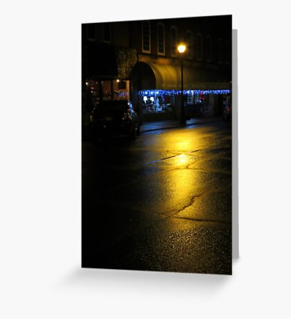 Rainy Night On Main St. Greeting Card