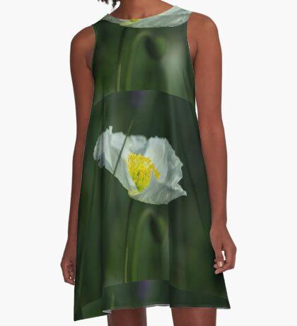 Good Morning White Poppy A-Line Dress