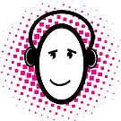Happy listening to music stickers and prints by sledgehammer