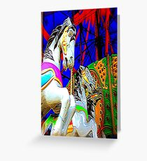 Carousel Horsey Racing Greeting Card